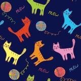 Cute cats and ball seamless background vector illustration