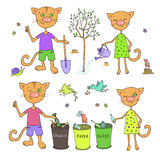 Cute cats and birds sort garbage and planting trees. Caring for the environment ecology Royalty Free Stock Image