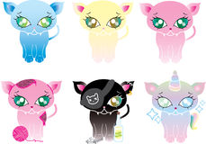 Cute Cats. 6  cats, blue, light yellow, Pink, and one Teddy Pink, one Black Pirate Cat, and one Unicorn cat Stock Photos