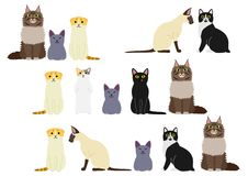 Cute cats border set. Various Cute cats  border set Stock Images