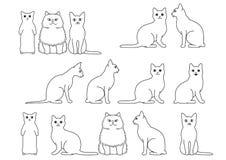 Cute cats border set. Various Cute cats border set vector illustration