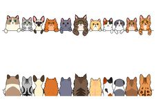 Various cute cats border set. Cute cats border set, various breed, front side and back side royalty free illustration