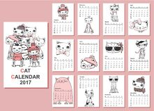 Cute cats Calendar 2017. Calendar 2017. Cute cats for every month. Vector. Isolated Stock Image