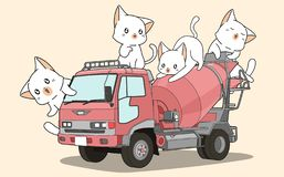 Cute cats on cement mixer truck vector illustration