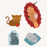 Cute cats character different pose funny animal domestic kitten vector illustration. Pet feline portrait fluffy young adorable mammal whisker pussy cartoon Stock Images