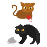 Cute cats character different pose funny animal domestic kitten vector illustration. Royalty Free Stock Images
