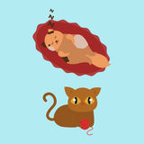 Cute cats character different pose funny animal domestic kitten vector illustration. Pet feline portrait fluffy young adorable mammal whisker pussy cartoon Royalty Free Stock Photography