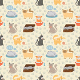 Cute cats character different pose vector seamless pattern. Cute cats character different pose vector illustration seamless pattern Royalty Free Stock Image