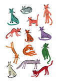 Cute cats, childish style. Sketch for your design Royalty Free Stock Images
