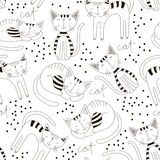 Cute cats colorful seamless pattern background. Kid wallpaper design. Hand drawn fashion backdrop. Cute and fun animal Royalty Free Stock Images