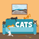 Cute cats on the couch. Vector illustration of cute cats on the couch royalty free illustration