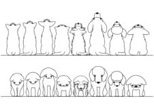 Cute cats and dogs looking up and down border set. Without colors stock illustration