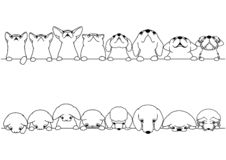Cute cats and dogs looking up and down border set. Monochrome line art royalty free illustration