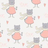 Cute cats with flowers colorful seamless pattern background Stock Images