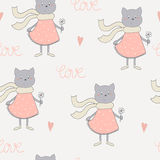 Cute cats with flowers colorful seamless pattern background Royalty Free Stock Image