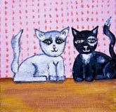 Cute cats folk art. Whimsical folk art painting of 2 cats Stock Photo