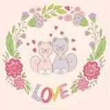 Cute cats friendly   illustration Stock Photos