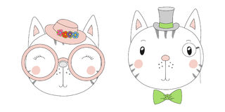 Cute cats girl and boy portraits Royalty Free Stock Photos