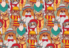 Cute Cats Group Fashion Hipster Seamless Pattern. Stock Photography