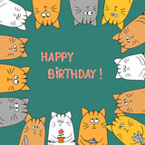 Cute cats. Happy birthday card. Doodle vector illustration stock illustration