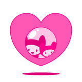 Cute cats in heart. Cute cat couple in heart stock illustration