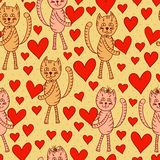 Cute cats with hearts seamless pattern Royalty Free Stock Photos