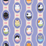 Cute cats in laced frames. Vector retro pattern polka dots and stripes. Royalty Free Stock Photos