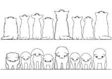 Cute cats looking up and down border set. Black and white vector illustration