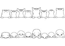 Cute cats looking up and down border set. Monochrome line art royalty free illustration