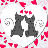 Cute cats in love. Vector cute hand drawn style romantic background with cats in love Royalty Free Stock Image