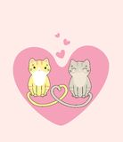 Cute cats in love. Vector illustration of two cute cats in love Royalty Free Stock Photography