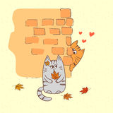 Cute cats in love. Doodle vector illustration stock illustration