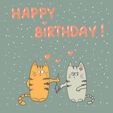 Cute cats in love. Happy birthday. Royalty Free Stock Photography