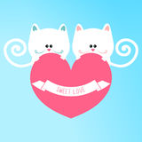 Cute cats in love. Holding a heart vector illustration