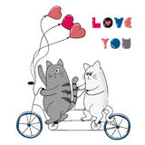 Cute cats in love. Love you lettering. Romantic background. Valentine`s day design. Two cartoon cats on bicycle Royalty Free Stock Images
