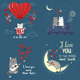 Cute cats in love. Set of romantic backgrounds. Collection of Valentine`s Day cards. Vector illustrations vector illustration