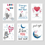 Cute cats in love. Set of romantic card Stock Photo
