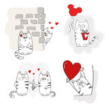 Cute cats in love. Set of Valentines. Royalty Free Stock Images