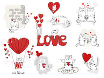 Cute cats in love. Valentines day big set. For your design. Collection of doodle vector illustrations stock illustration