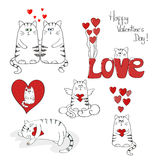 Cute cats in love. Valentines day set. Collection of doodle vector illustrations stock illustration