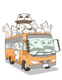 Cute cats and panda and bus in cartoon style royalty free illustration