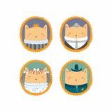 Cute cats portraits vector illustration