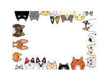 Cute cats rectangle frame Stock Images