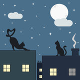 Cute cats on the roof in the starry night illustration Stock Photos