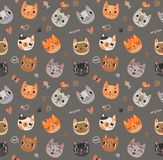 Seamless pattern with cute cats. Cute cats Seamless pattern with animals Stock Photography