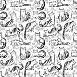 Cute cats seamless pattern. Background with hand drawn doodle ki. Tty. Vector floral illustration in children incomplete style for fabric, surface, textile and Vector Illustration
