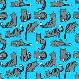 Cute cats seamless pattern. Background with hand drawn doodle ki. Tty. Vector illustration in children incomplete style for fabric, surface, textile and wrapping Stock Illustration
