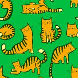 Cute cats seamless pattern. Background with hand drawn doodle ki. Tty. Vector illustration in children incomplete style for fabric, surface, textile and wrapping Royalty Free Illustration
