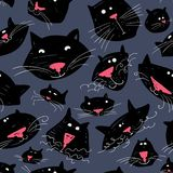 Cute cats seamless pattern. Background with pets in doodle style. Vector illustration with funny kitten in black color vector illustration