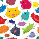 Cute cats seamless pattern. Background with pets in doodle style. Vector illustration with funny kitten in bright colors stock illustration